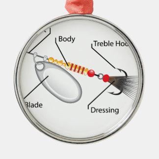 Ornamento De Metal Vetor da lâmina da prata da atração da pesca do