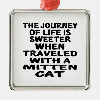 Ornamento De Metal Viajado com gato do mitene