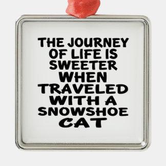 Ornamento De Metal Viajado com gato do sapato de neve