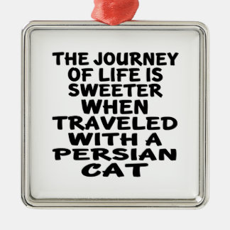 Ornamento De Metal Viajado com gato persa