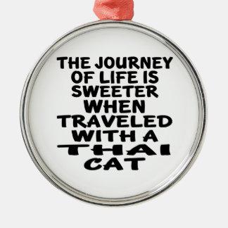 Ornamento De Metal Viajado com gato tailandês
