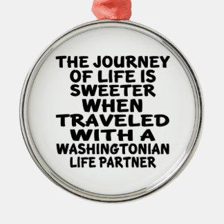 Ornamento De Metal Viajado com um sócio da vida de Washingtonian