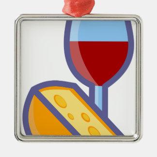 Ornamento De Metal Vinho e queijo