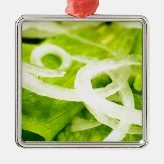 Ornamento De Metal Vista macro das folhas do anel da alface e de