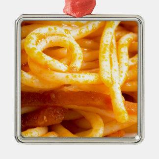 Ornamento De Metal Vista macro detalhada nos espaguetes cozinhados em