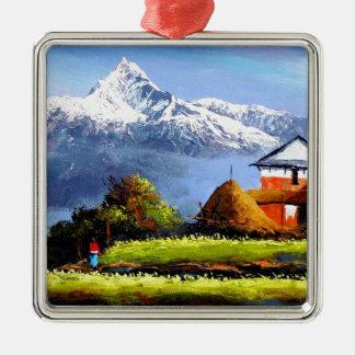 Ornamento De Metal Vista panorâmica da montanha bonita de Everest