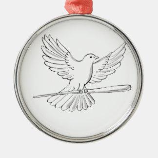 Ornamento De Metal Vôo do pombo ou da pomba com desenho do bastão
