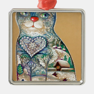 Ornamento De Metal winter cat