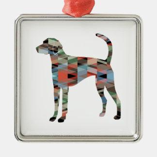 Ornamento De Metal Xadrez da silhueta do teste padrão de Geo do cão