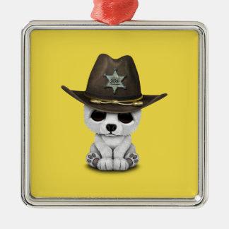 Ornamento De Metal Xerife bonito de Cub de urso polar do bebê