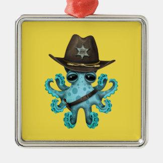 Ornamento De Metal Xerife bonito do polvo do bebê azul