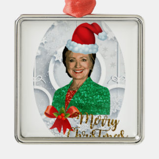 Ornamento De Metal xmas Hillary clinton da feliz