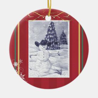 Ornamento de Mosiac do boneco de neve do vaqueiro