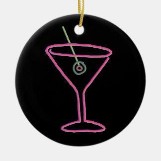 Ornamento de néon retro do happy hour de Martini