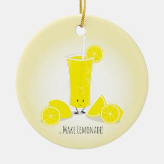 Ornamento de sorriso do vidro | da limonada