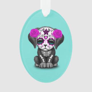 Ornamento Dia cor-de-rosa do cão de filhote de cachorro