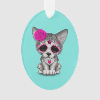 Ornamento Dia cor-de-rosa do lobo Cub inoperante