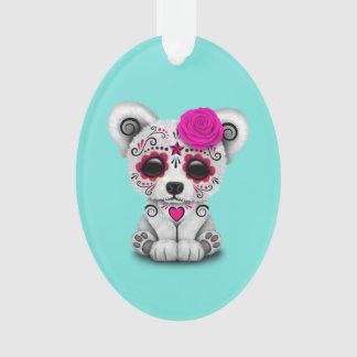 Ornamento Dia cor-de-rosa do urso polar do bebê inoperante