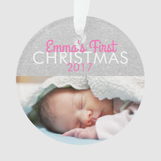 Ornamento do acrílico do Natal do bebê cor-de-rosa