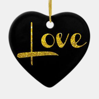 Ornamento do amor do coração do brilho do ouro do