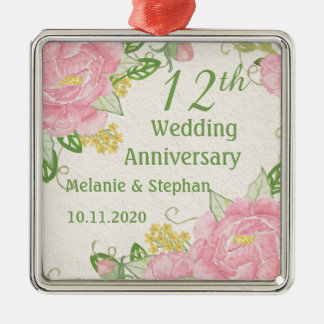 Ornamento do aniversário de casamento da peônia