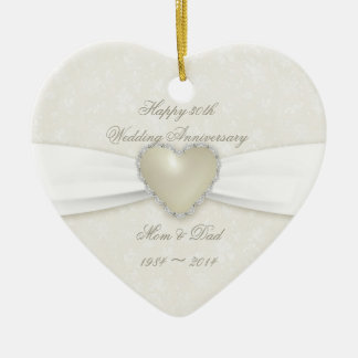 Ornamento do aniversário de casamento do damasco