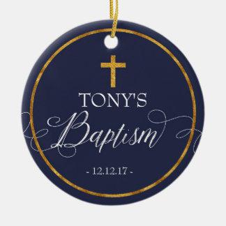 Ornamento do baptismo dos azuis marinhos
