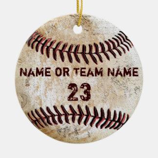 Ornamento do basebol do vintage com NOME e NÚMERO