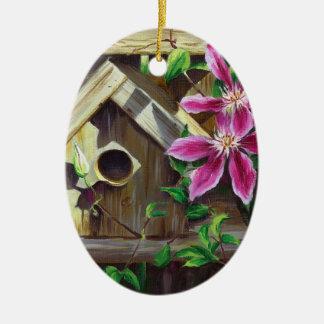 Ornamento do Birdhouse 0003 & do Clematis