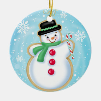 Ornamento do biscoito do boneco de neve do feriado
