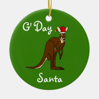 Ornamento do canguru do Natal do papai noel de