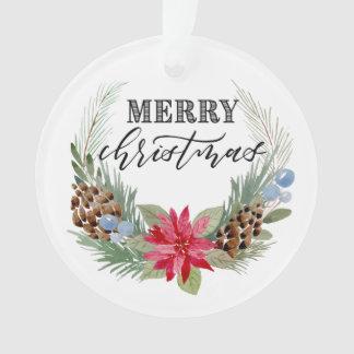 """Ornamento do círculo do """"Feliz Natal"""" com grinalda"""