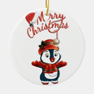 Ornamento do círculo do pinguim do Natal