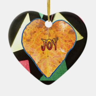 Ornamento do coração da folha da ALEGRIA do teste