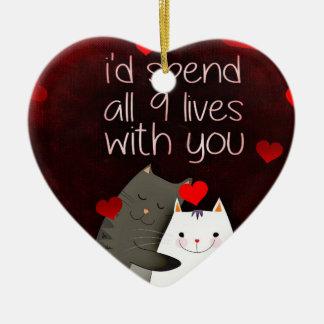 Ornamento do coração dos gatos do amor
