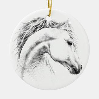 Ornamento De Cerâmica Ornamento do desenho de lápis do retrato do cavalo