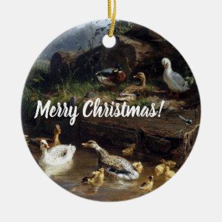 Ornamento do Feliz Natal da lagoa dos pássaros do