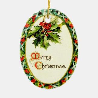 Ornamento do Feliz Natal da reprodução do vintage