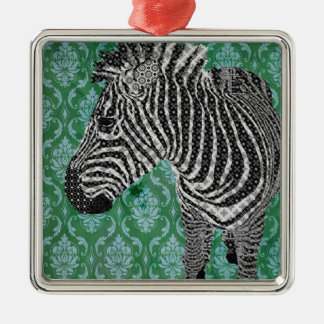 Ornamento do Feliz Natal da zebra do vintage