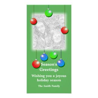 Ornamento do feriado (altos) cartão com foto
