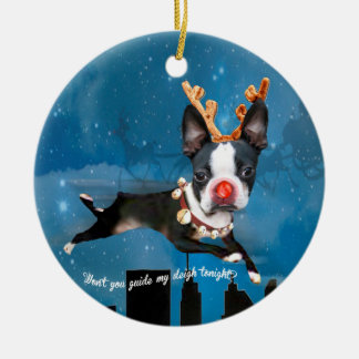 Ornamento do feriado da rena de Boston Terrier