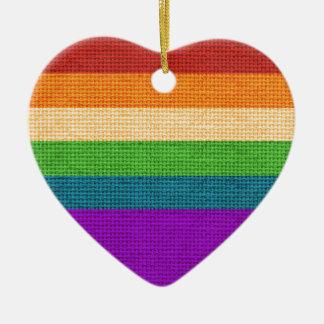 Ornamento do feriado do coração do arco-íris