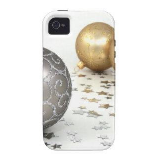 Ornamento do feriado para o Natal - prata e ouro Capa Para iPhone 4/4S