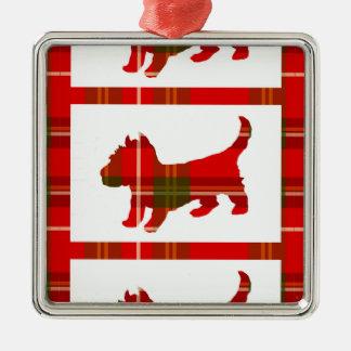 Ornamento do filhote de cachorro do Tartan