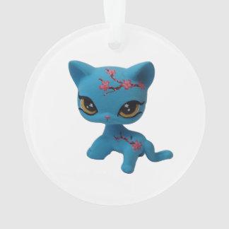 Ornamento do gatinho da flor de cerejeira
