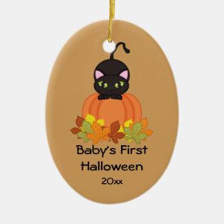 Ornamento do gato preto do Dia das Bruxas do bebê