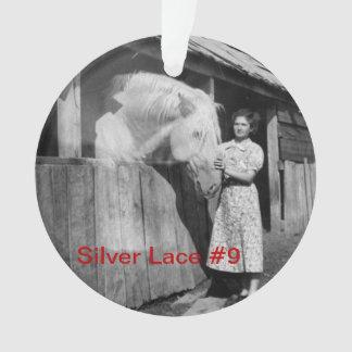 ornamento do laço #9 da prata do aniversário do 70