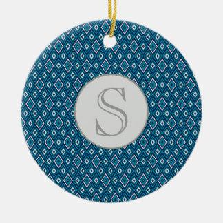 Ornamento do monograma do diamante dos azuis