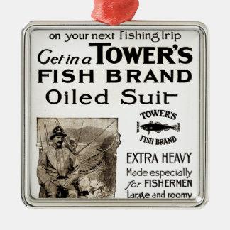Ornamento do Oilskin dos pescadores do vintage