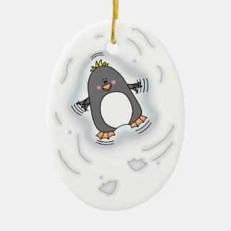 Ornamento do Oval do anjo da neve do pinguim